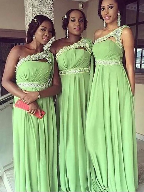 A-Line/Princess One-Shoulder Floor-Length Chiffon Bridesmaid Dresses
