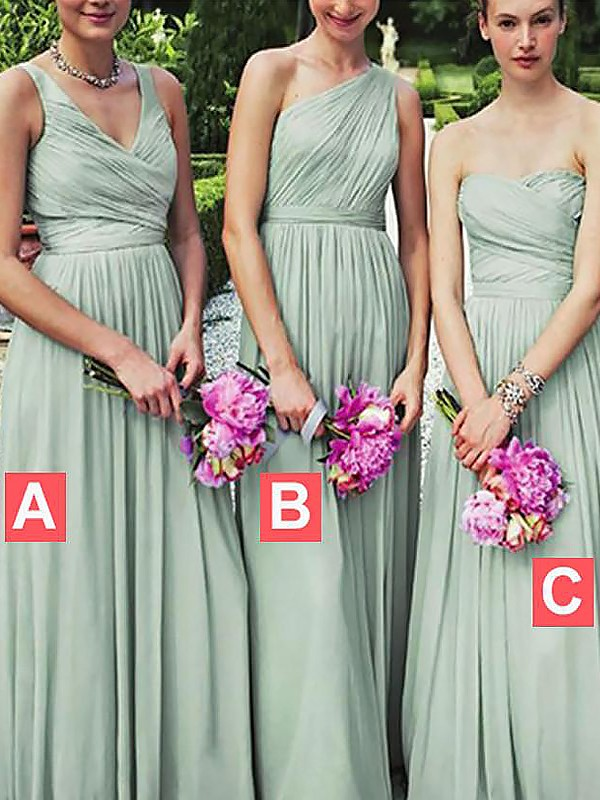 A-Line/Princess Floor-Length Chiffon Bridesmaid Dresses