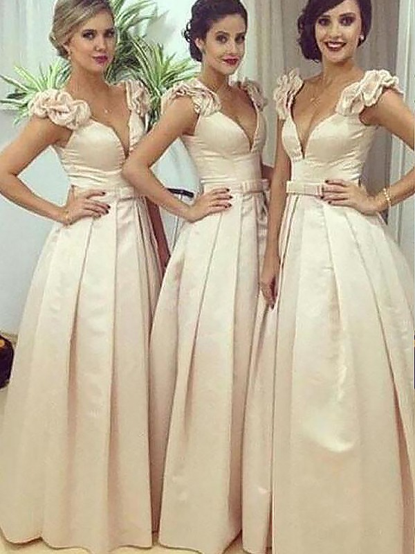A-Line/Princess Straps Floor-Length Satin Bridesmaid Dresses