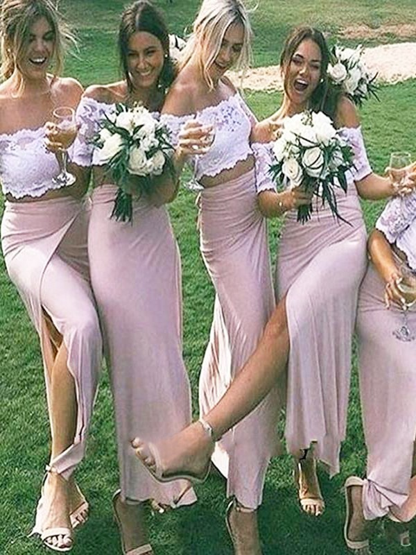 Sheath/Column Off-the-Shoulder Floor-Length Jersey Bridesmaid Dresses