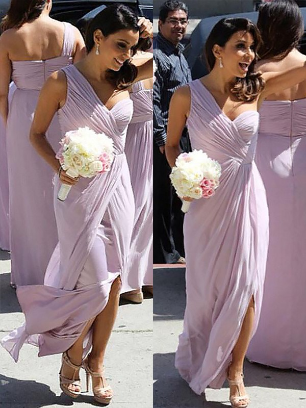 A-Line/Princess One-Shoulder Floor-Length Ruched Chiffon Bridesmaid Dresses