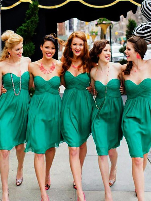 A-Line/Princess Sweetheart Short/Mini Chiffon Bridesmaid Dresses