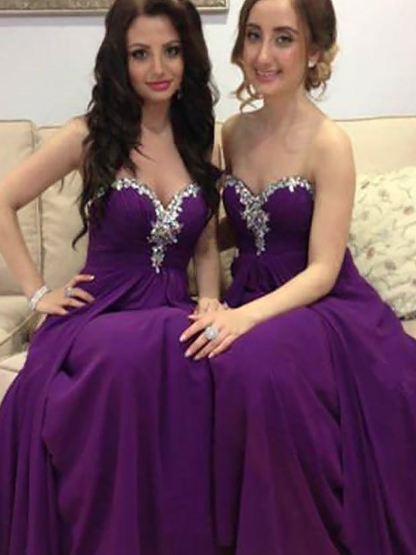 A-Line/Princess Sweetheart Floor-Length Beading Chiffon Bridesmaid Dresses