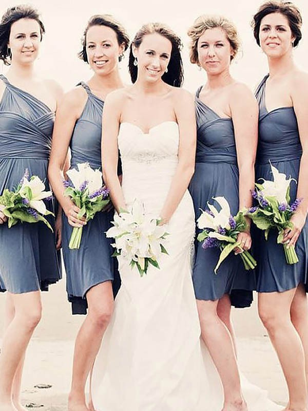 A-Line/Princess One-Shoulder Short/Mini Chiffon Bridesmaid Dresses