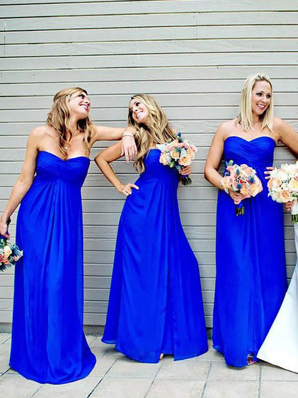 A-Line/Princess Sweetheart Floor-Length Chiffon Bridesmaid Dresses