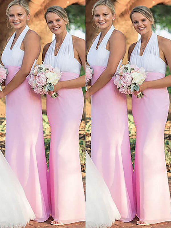 Sheath/Column Halter Floor-Length Chiffon Bridesmaid Dresses