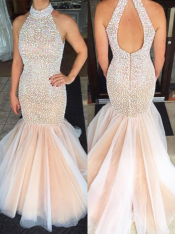 Trumpet/Mermaid Tulle Halter Beading Floor-Length Dresses