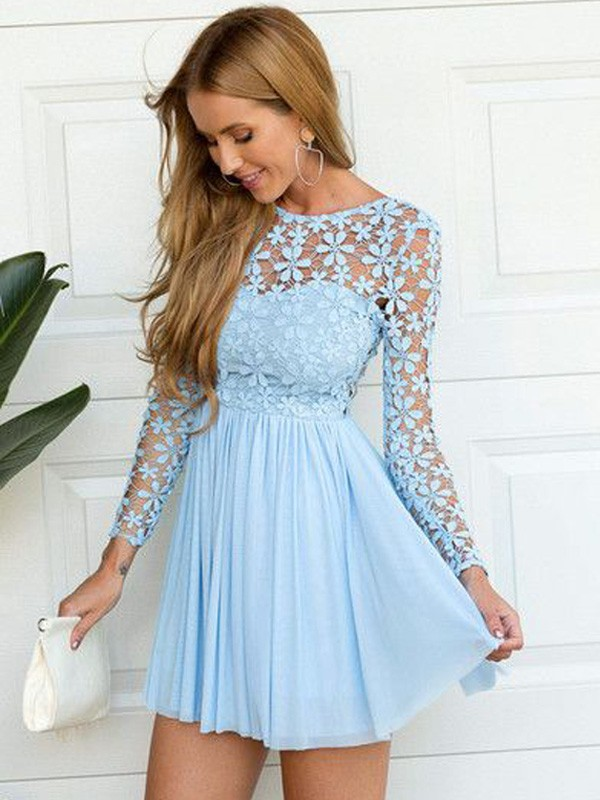 A-Line/Princess Scoop Long Sleeves Short/Mini Chiffon Dress With Lace