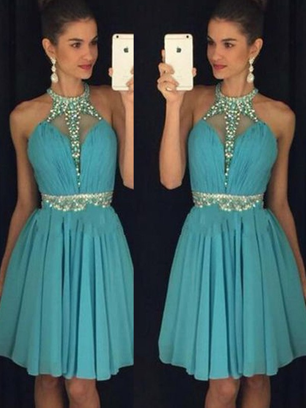 A-Line/Princess Sleeveless Halter Short/Mini Chiffon Dress With Beading