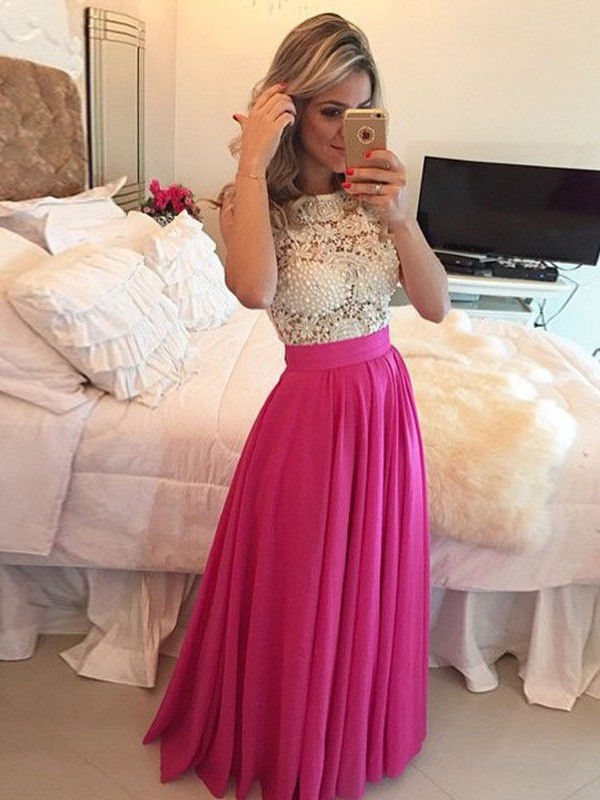 A-Line/Princess Scoop Sleeveless Long Chiffon Dresses With With Lace