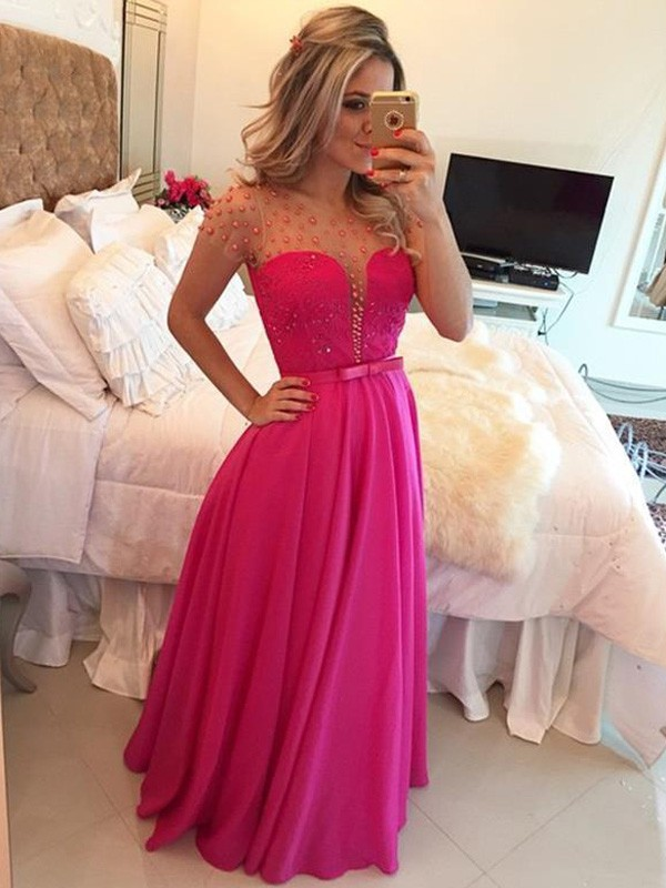 A-Line/Princess Scoop Short Sleeves Long Chiffon Dresses With Beading