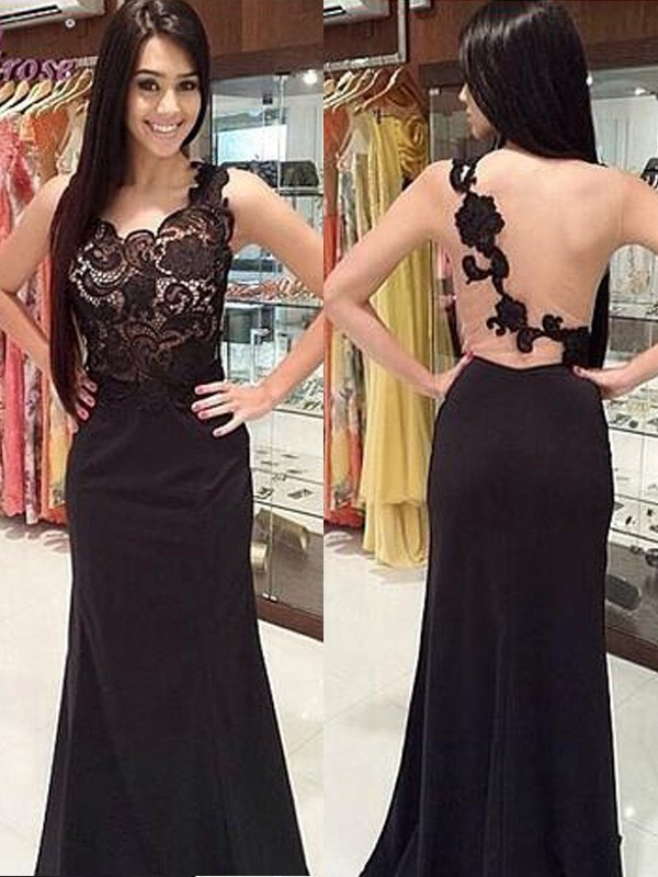 Sheath/Column Scoop Sleeveless Long Chiffon Dresses With With Lace