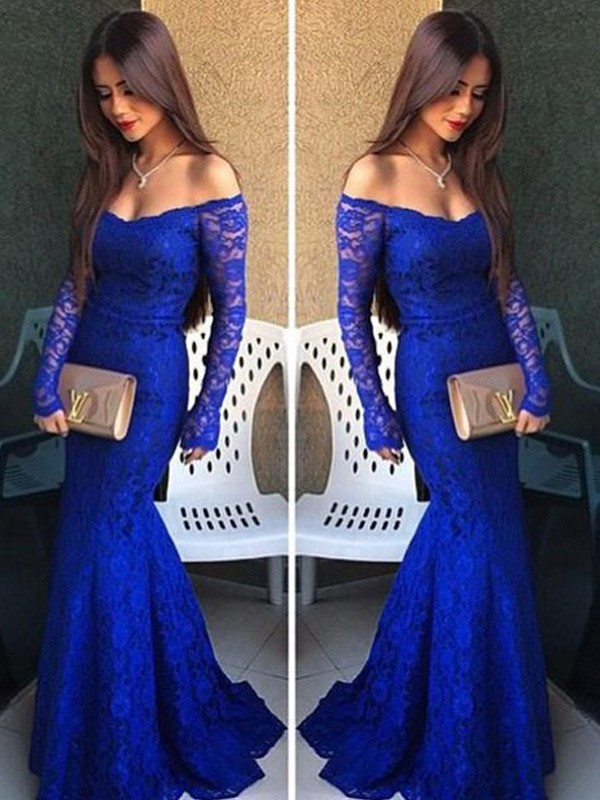 Trumpet/Mermaid Off-the-Shoulder Long Sleeves Dresses With With Lace