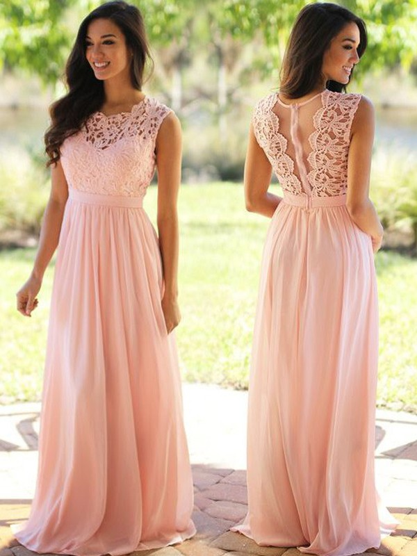 A-Line/Princess Scoop Sleeveless Long Chiffon Dresses With Appliques