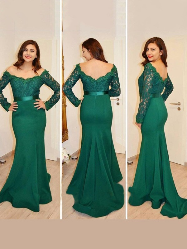 Trumpet/Mermaid Off-the-Shoulder Long Sleeves Satin Dresses With Appliques