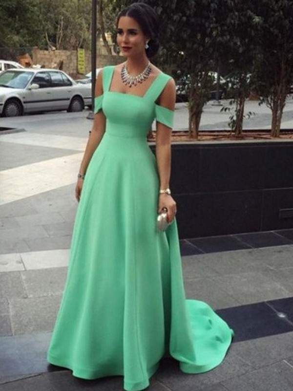 A-Line/Princess Straps Sleeveless Long Satin Dresses With Beading