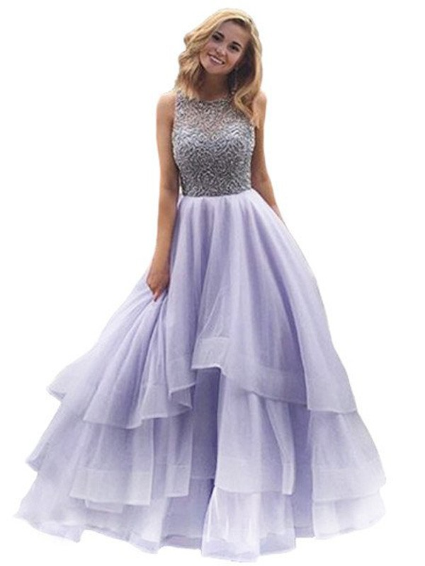 Ball Gown Scoop Sleeveless Long Organza Dresses With Beading