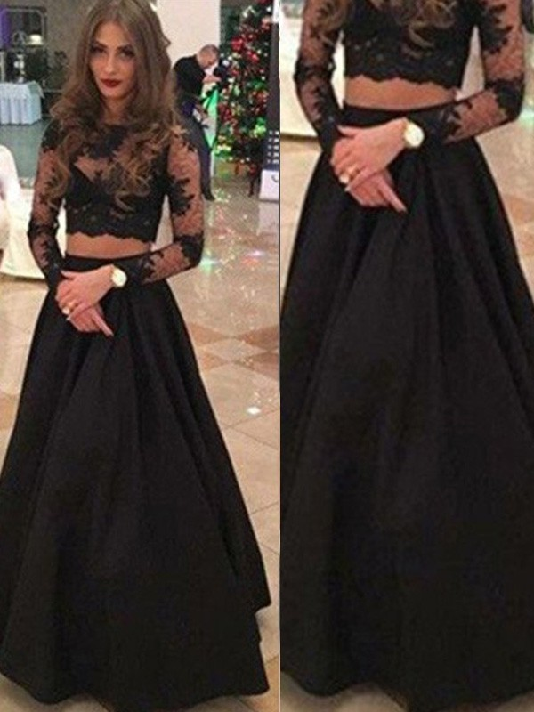 A-Line/Princess Long Sleeves Scoop Long Dresses With With Lace