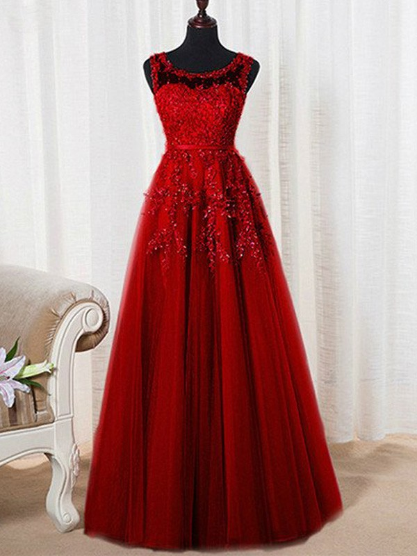 A-Line/Princess Sleeveless Scoop Long Tulle Dresses With Beading