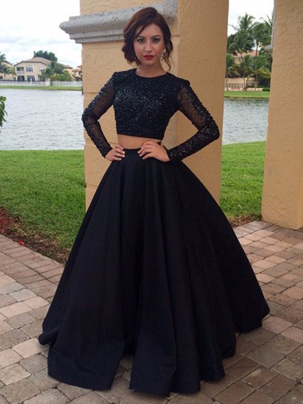 Ball Gown Long Sleeves Scoop Long Satin Dresses With Beading