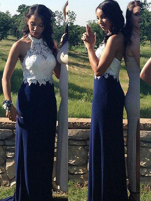 Sheath/Column Halter Sleeveless Long Chiffon Dresses With With Lace