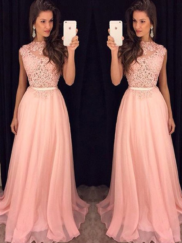 A-Line/Princess High Neck Sleeveless Chiffon Long Dresses