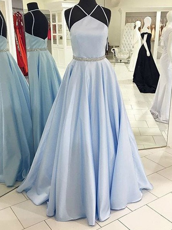 A-Line/Princess Halter Sleeveless Long Satin Dresses