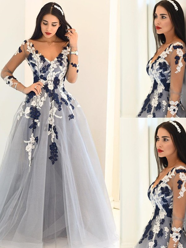 A-Line/Princess V-Neck Long Sleeves Tulle Floor-Length Dresses With Appliques