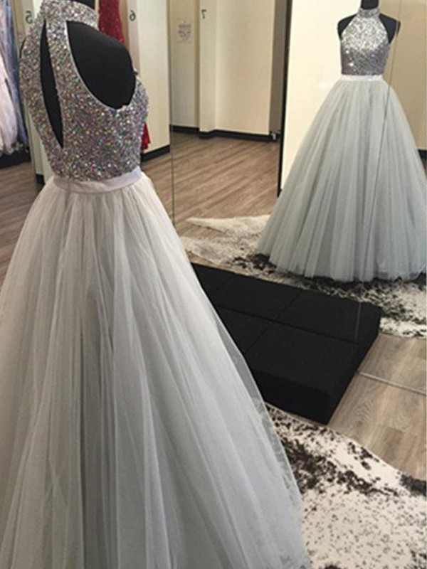 A-Line/Princess Halter Sleeveless Long Tulle Dresses With Beading