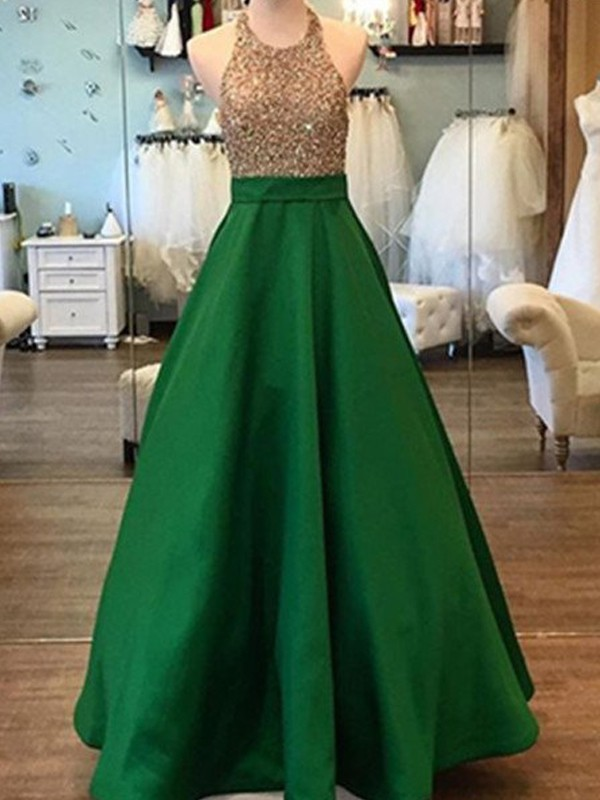 A-Line/Princess Sleeveless Long Halter Satin Dresses With Beading