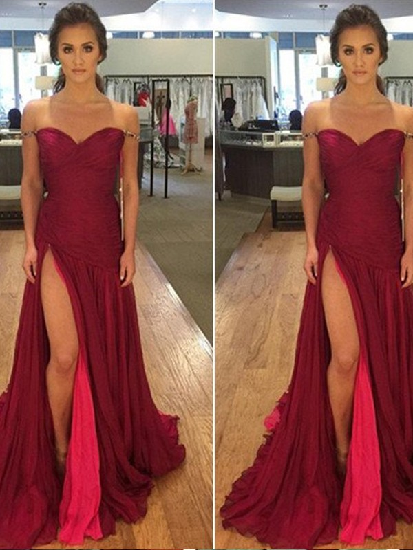 A-Line/Princess Off-the-Shoulder Sleeveless Long Chiffon Dresses