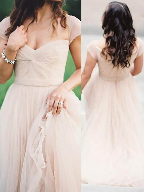 A-Line/Princess Sweetheart Sleeveless Long Chiffon Dresses With Ruched