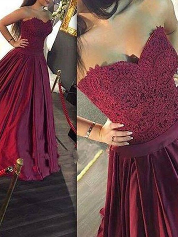 A-Line/Princess Sweetheart Sleeveless Satin Long Dresses With With Lace
