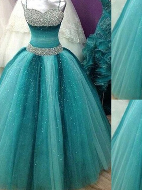 Ball Gown Spaghetti Straps Sleeveless Tulle Long Dresses With Beading