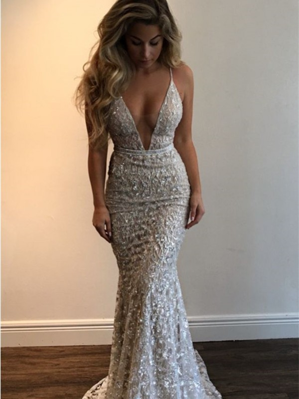 Trumpet/Mermaid V-neck Sleeveless Long Dresses With With Lace