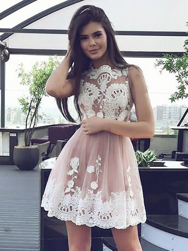 A-Line/Princess Scoop Lace Short/Mini Chiffon Dresses