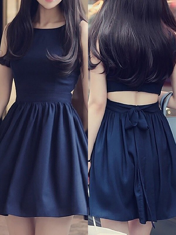 A-Line/Princess Scoop Short/Mini Chiffon Dresses