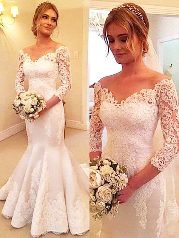 Trumpet/Mermaid 3/4 Sleeves Satin Off-the-Shoulder Lace Court Train Wedding Dresses