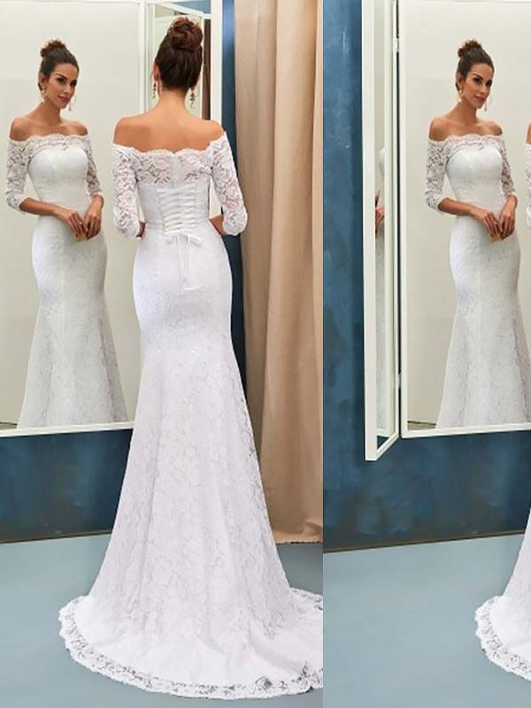 Trumpet/Mermaid Off-the-Shoulder Sweep/Brush Train Lace Long Sleeves Wedding Dresses