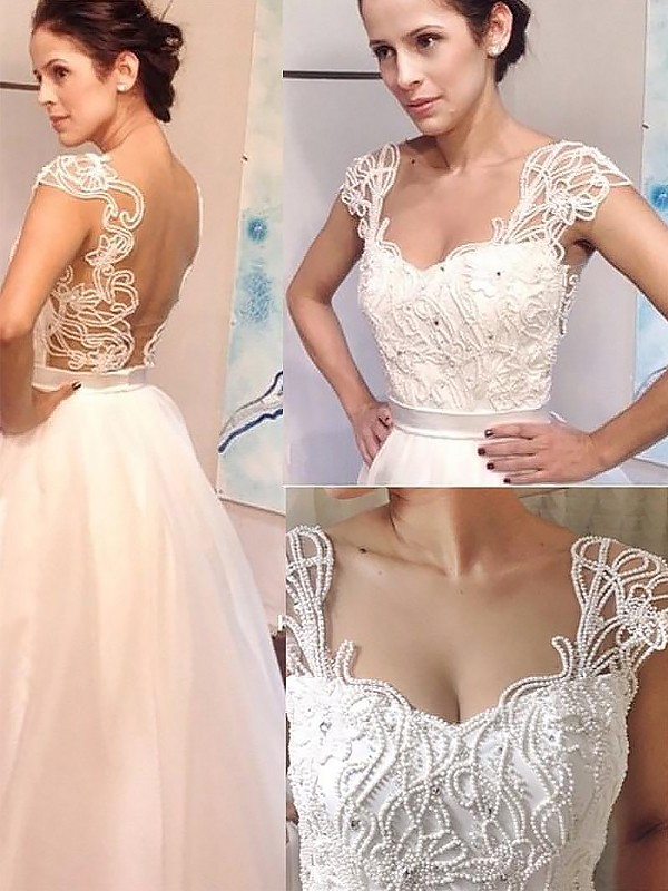 A-Line/Princess Sweetheart Sweep/Brush Train Tulle Sleeveless Wedding Dresses