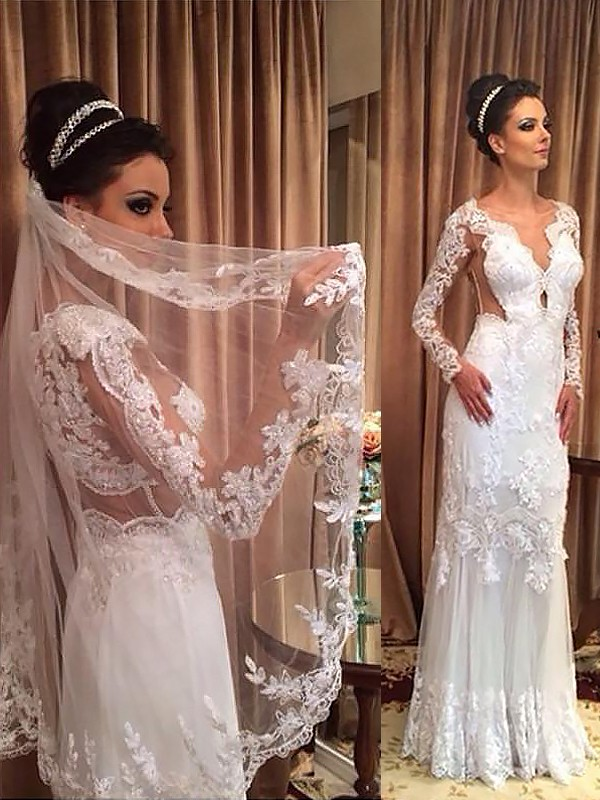 Sheath/Column Tulle Long Sleeves V-neck  Floor-Length Wedding Dresses