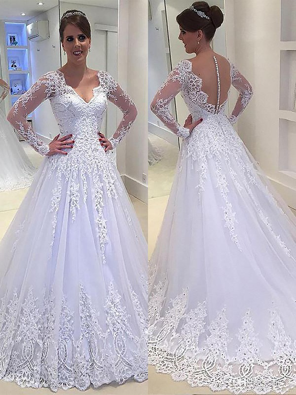 A-Line/Princess Applique V-neck Court Train Tulle Long Sleeves Wedding Dresses