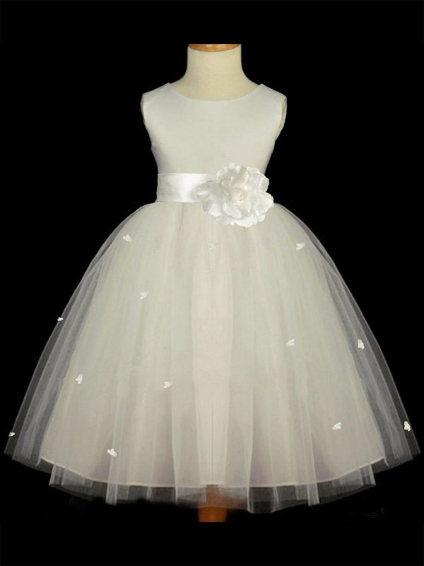 A-Line/Princess Scoop Ankle-Length Hand-Made Flower Tulle Flower Girl Dresses