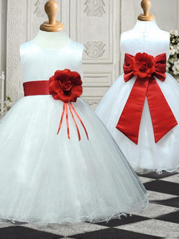 A-Line/Princess Scoop Ankle-Length Hand-Made Flower Organza Flower Girl Dresses