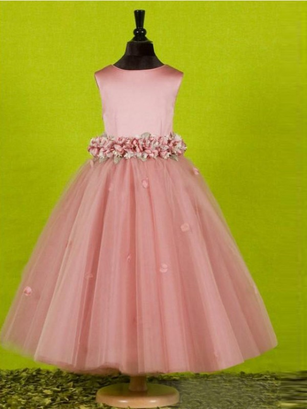 A-Line/Princess Scoop Tea-Length Bowknot Tulle Flower Girl Dresses