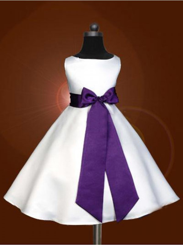 A-Line/Princess Scoop Ankle-Length Bowknot Satin Flower Girl Dresses