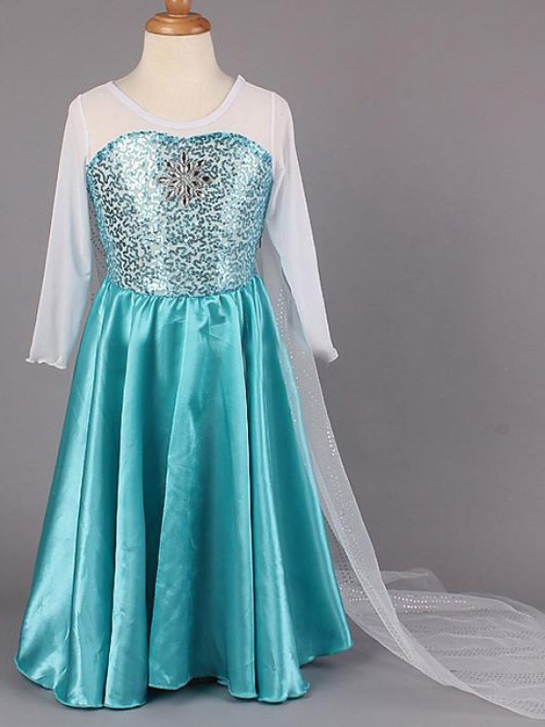 A-Line/Princess Scoop Floor-Length Beading Satin Flower Girl Dresses