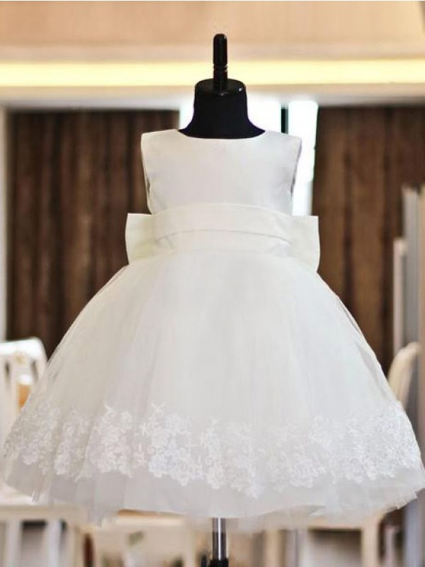 A-Line/Princess Scoop Tea-Length Lace Organza Flower Girl Dresses
