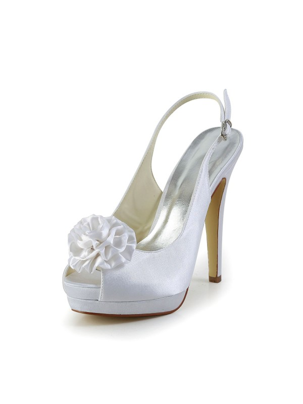 Women's Satin Stiletto Heel Sandals Peep Toe With Flower Wedding Shoes