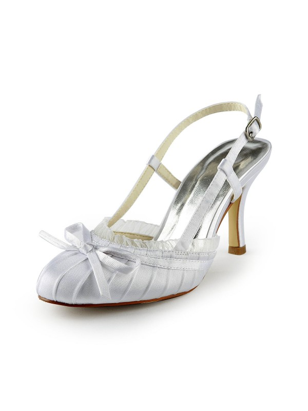 Women's Pretty Satin Stiletto Heel Sandals Closed Toe With Buckle Wedding Shoes